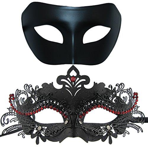 Thmyo Paar Maskerade Metall Maske, venezianischen glänzenden Strass Halloween Kostüm Party Maske (2 Stück) (Schwarz-schwarz-rot)