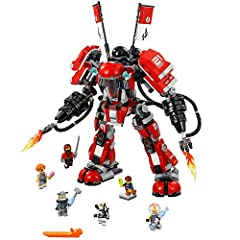 Build your own Fire Mech, complete with opening minifigure cockpit, posable arms and legs, two non-shooting fire blasters with translucent fire-style elements, two shoulder disc shooters and more Featured in THE LEGO NINJAGO MOVIE Includes 6 minifigu...