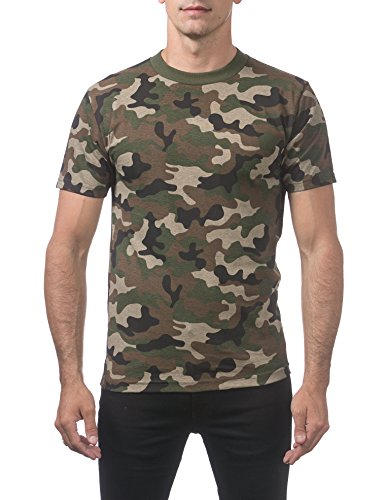 Pro Club Men's Comfort Cotton Short Sleeve T-Shirt, Green Camo, X-Large