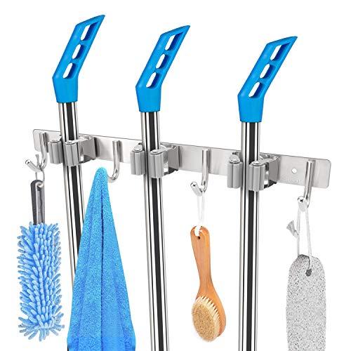 Fulgente Besen Mop Halter, Wandhalterung Aufbewahrung Reinigungstools für Besenhalter Wandhalterung Besenhalterung, Einschraub-Hochleistungs-Edelstahl Hängeregal (4 Haken und 3 Schnellspannern)