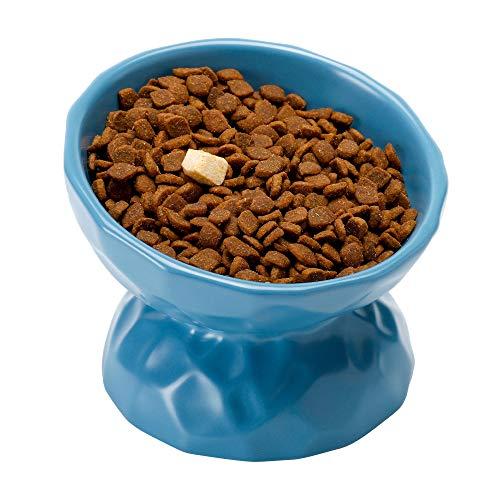 PETTOM Katzennapf, Futternapf Katze Keramik, Fressnapf Katze Erhöht Einzeln, Katzenfressnapf Nackenschutz (Blau)