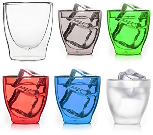 Lot de 6 verres à expresso colorés à double paroi de 80 ml + 5 couleurs assorties.