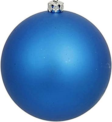 Queens of Christmas WL-ORN-BLKM-60-BL-UV Matte Ball Ornament with Wire and UV Coating, 60mm, Blue