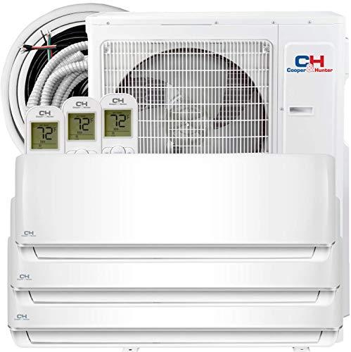 Tri 3 Zone 12000 12000 12000 BTU Multi Zone Ductless Mini Split Air Conditioner Heat Pump WiFi Ready Full Set with 25ft Installation Kits