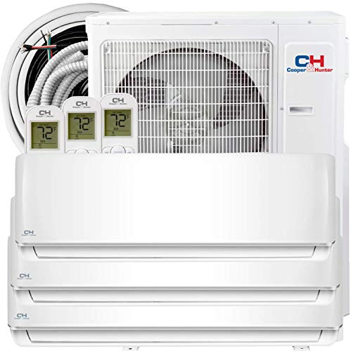 COOPER AND HUNTER Tri 3 Zone 12000 12000 12000 BTU Multi Zone Ductless Mini Split Air Conditioner Heat Pump WiFi Ready Full Set with 25ft Installation Kits