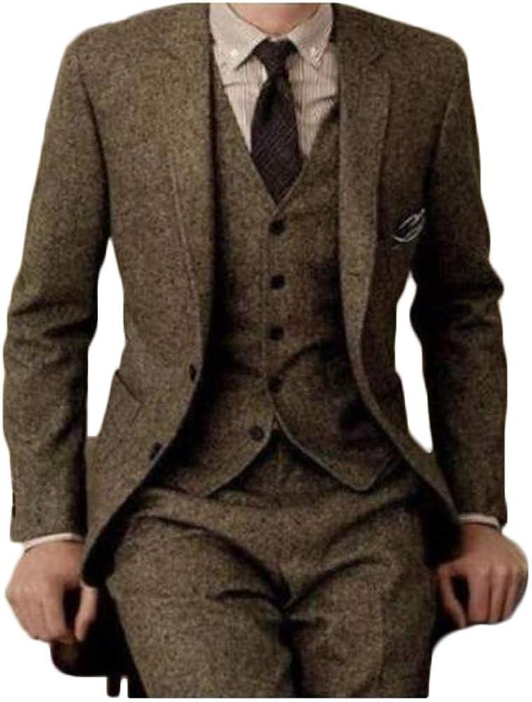 Men Vintage 3-Piece Suit Single Breasted Wool Tweed Brown Herringbone Custom Made