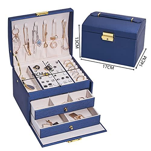SXBF Caja de Joyería, Caja de Almacenamiento de Joyas Multicapa, Joyero de Cuero de Tres Capas y Dos Cajones,Blue