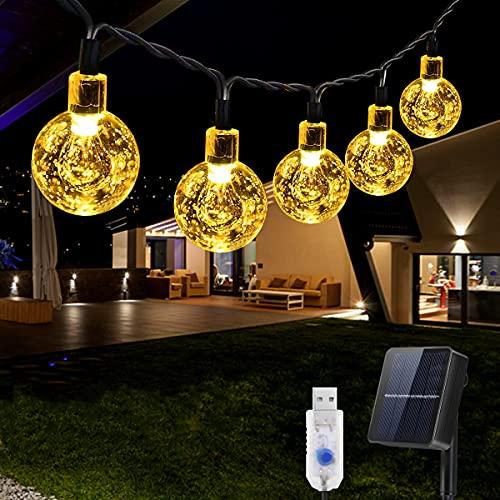 Guirnaldas Luces Exterior Solar, 8M 50 LED Luces LED Solares para Exteriores, Solar+USB guirnaldas luces exterior Decoración Exterior para Navidad, Fiestas, Bodas, Dormitorio, Jardines, Halloween