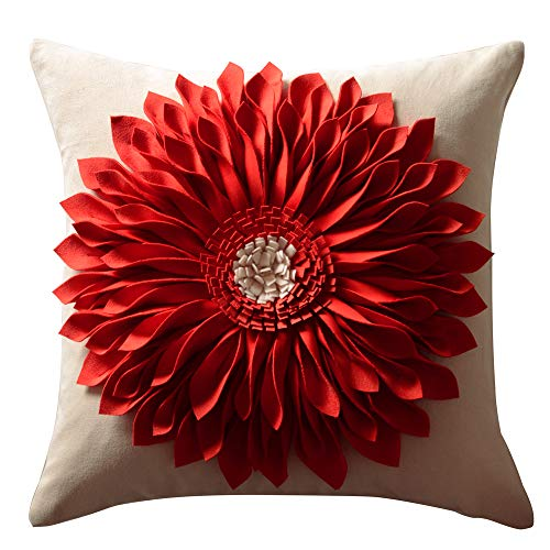 OiseauVoler Decorative 3D Sunflower Throw Pillow Cases Handmade Accent Cushion Covers for Home Sofa Car Bed Room Decor 18 x 18 Inch Reddish Orange