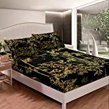 Luxury Black Gold Bedding Set Bamboo Fitted Sheet Set for Man Woman Senior Bedroom,Eastern Botanical Bed Sheet Set Oriental Gift Bed Cover Fashion Decor 3 Pcs Queen Size