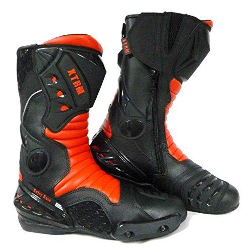 XTRM Core - Botas de Motociclista para Motociclista, con protección CE, de Cuero para Deportes de Carreras, Color Negro y Rojo, Negro/Rojo, UK 11 / EU 45