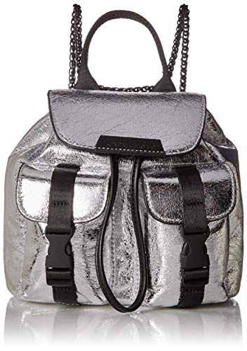 -Flap with snap closure and interior top drawstring -Chain shoulder straps that can be converted to crossbody