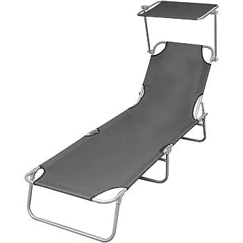 vidaXL Chaise Longue Pliable avec Auvent Acier Transat de