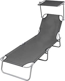 vidaXL Folding Sun Lounger with Canopy Outdoor Garden Camping Beach Day Bed Seating Steel Grey