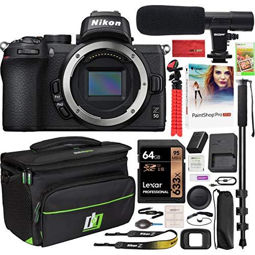 Nikon Z50 Mirrorless Camera Body 4K UHD DX-Format Bundle with Deco Gear Deluxe Gadget Bag Case Bundle + Microphone +...