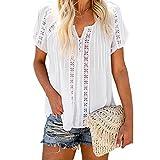 Anaike Camiseta casual de manga corta para mujer, color sólido, ahuecado con cuello en V, blusa suelta para verano, blanco, S