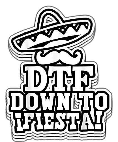 Armyco DTF Down to Fiesta Sombrero Mustache Cinco De Mayo Party Vinyl Stickers, Laptop Decal, Water Bottle Sticker (Set of 3 Stickers 4x4)