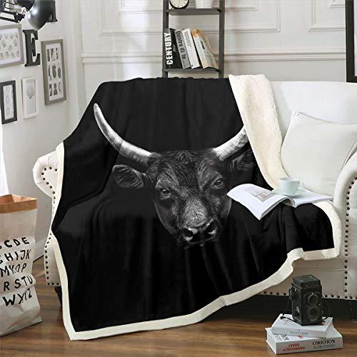 Erosebridal Bull Head Blanket Throw, Vintage Wild Animal Exotic Tribal Style Glitch Effect Sherpa Blanket, Decorative Sofa Fleece Blanket Breathable Durable, Throw 50'x60', Black White