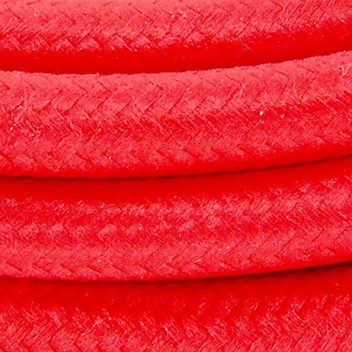 Cable textil con enchufe e interruptor (2 m), color rojo