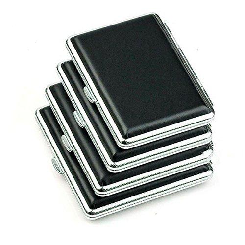 Panegy Portasigarette Pelle Metallo Elegante Slim Porta Sigaretta Uomo per 14 Sigarette Nero
