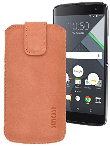 Suncase ECHT Ledertasche Leder Etui für BlackBerry DTEK 60 Tasche (mit Rückzugsfunktion) in antik-lachsrosa