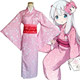 HJQ Women's Cosplay Costume Eromanga Sensei Anime Sagiri Izumi Kimono Bathrobe for Halloween Party and Everyday Wear,Pink,S