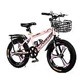XXY Niño de la Bicicleta de montaña Individual Velocidad de la Bici del Asiento Ajustable con Frenos de Mano Adecuado for Zonas Planas (Color : Pink, Size : 18INCHES)