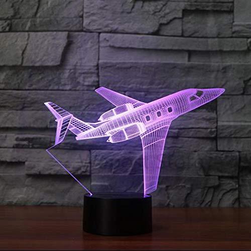 3D Led Luz De Noche Estilo jet privado 7 Colores Lámpara De Decoración Cambio - Regalo Perfectos Para Niño, Ilusión Óptica,Lámpara,Luz Nocturna