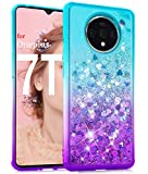Dzxouui for OnePlus 7T Case,One Plus 7T / 1+7T Case,TPU Protective Cover for Girls and Women Flow Glitter Bling Sparkle Cute Phone Case for OnePlus 7T / 1+7T(Teal-Purple)