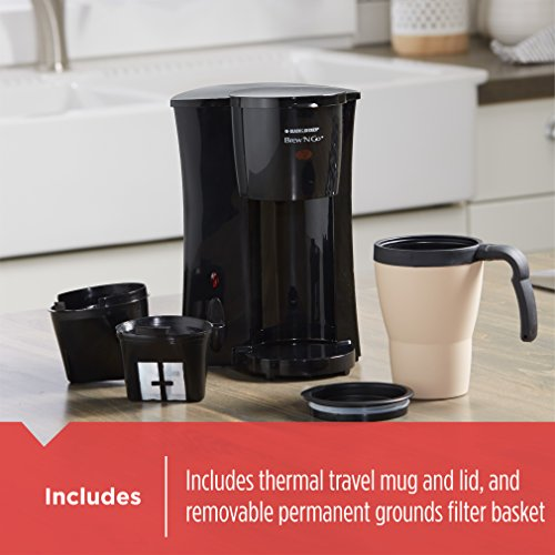 BLACK+DECKER Brew 'n Go Personal Coffeemaker with Travel Mug, Black/Beige, DCM18