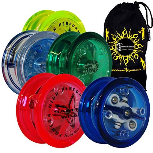 Yomega Saber-Wing Gehirn Ausgebauscht geformt Yoyo mit Starburst Response System - höchste Qualität Medium Yo-Yo für Kinder & Erwachsene + Reise Tasche! (Dunkelgrün)