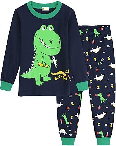 MOLYHUA Schlafanzug Jungen Lang Pyjama Dinosaurier Zweiteiliger Schlafanzüge Kinder Baumwolle Nachtwäsche für Baby-Jungen, 01 Dinosaurier (Grün), 110