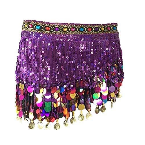 Shaoyao Falda de Cintura Bufan de Cadera con Borlas Lentejuelas Colorido para Danza de Vientre