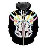 Zipper Sweatshirt Boy Fashion Loose 3D Jacket Print Color Bandage Skull Funny Sweatshirts Color Bandage Skulls XL