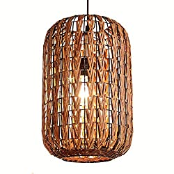 Southeast Asian Rattan Ratten Cylinder Cage Dining Room Ceiling Pendant Lights Hand-made Stair case Pendant Lamp Corridor Hallway Chandelier Fixtures