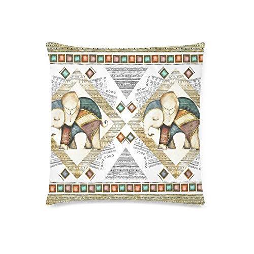 GOSMAO Elefante étnico geométrico triángulo Vintage Animal Decorativo cojín Funda de Almohada Funda 18x18 Pulgadas, Protector de Funda de Almohada Decorativa