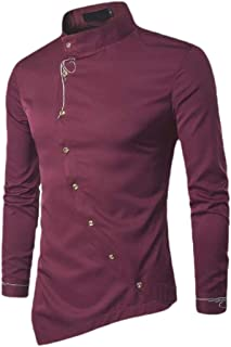 Etecredpow Men Button Down Long Sleeve Casual Irregular-Hem Shirt