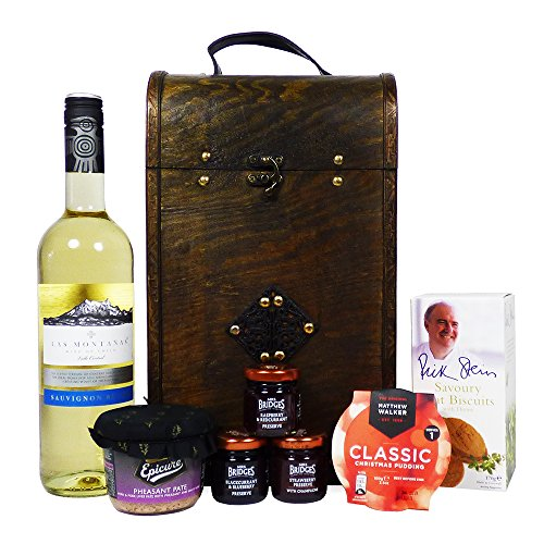 75cl Las Montanas White Wine Food Hamper Presented in a Keepsake Celtic Style Chest - Ideas for Christmas, Mum, Dad, Mothers Day, Him, Her, Father's Day, Birthday, Anniversary, Corporate, Business, Thank you, Teacher