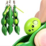 Stress Reliever Fidget Bean Toy, Squeezed Edamame Keychain Fidget Toys, Extrusion Bean Keyring Pea Soybean Stress Relieving Chain Toys, Decompression Pendant Relieves Stress & Anxiety Attention (3PC)