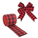 SEELOK Nastro di juta a scacchi Nastro di Natale rosso e nero Ornamenti da cucire Nastri Decorazione albero di Natale Confezione regalo Artigianato fai da te 5 cm x 6 m
