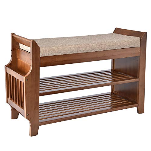 YUSING Bamboo Shoe Rack Bench with Removable Cushion 2 Tier Entryway Shoe Storage Organizer Shelf with Hidden Drawer and Umbrella Stand for Bedroom Living Room and Bathroom Medium