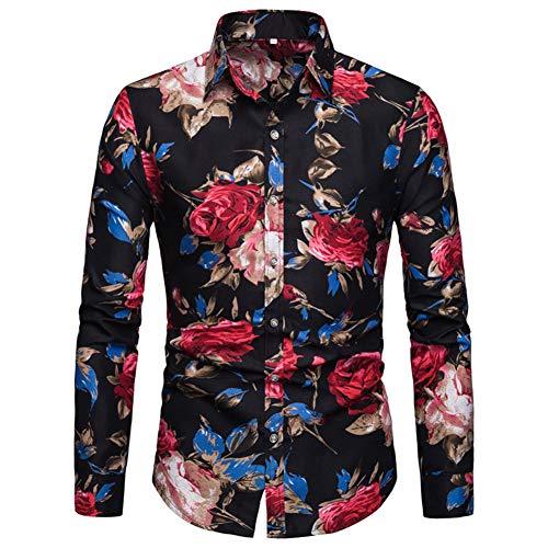 Blumen Hemden Herren Bunte Hemden Langarmhemd Muster Freizeitshemd Langarm Casual Shirt Schwarz XL