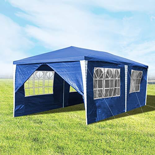 Hengda pavillon 3x6m Blau GartenPavillon Bierzelt Hoch Qualität Wasserdicht Partyzelt mit 6 Seitenteilen für Gartenfest Märkten Flohmärkte