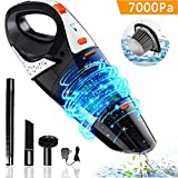 Hikeren Handheld Vacuum, 7Kpa Powerful Cyclonic Suction Wet & Dry Vacuum Cleaner, Cordless Handheld Vacuum with Stainless Steel HEPA Filter, Rechargeable Portable Handheld Vac with Lithium Battery