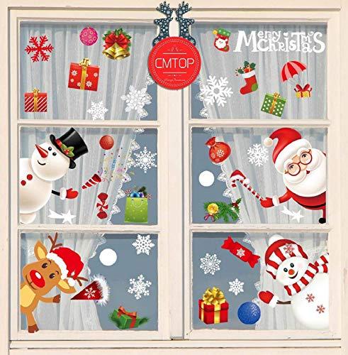 CMTOP Pegatinas de Ventana de Navidad Santa Claus Alce Desmontable Pegatinas para Hogar Tienda Fiesta Pegatina De Navidad 🔥