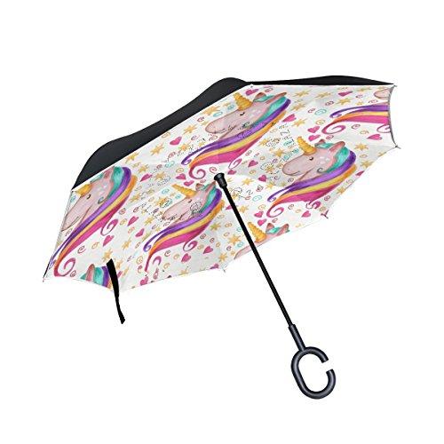 ISAOA Paraguas grande invertido resistente al viento, doble capa, paraguas plegable reversible para coche lluvia al aire libre en forma de C, paraguas rosa unicornio paraguas