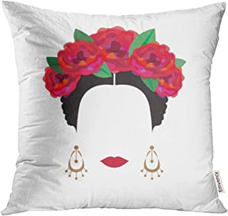 Emvency Throw Pillow Covers Decorative Cases Rose Portrait of Modern Mexican Spanish Woman with Flower Crowns Flamenco Hispanic 16x16 Inch Cover Cushion Pillowcase Square Case Print