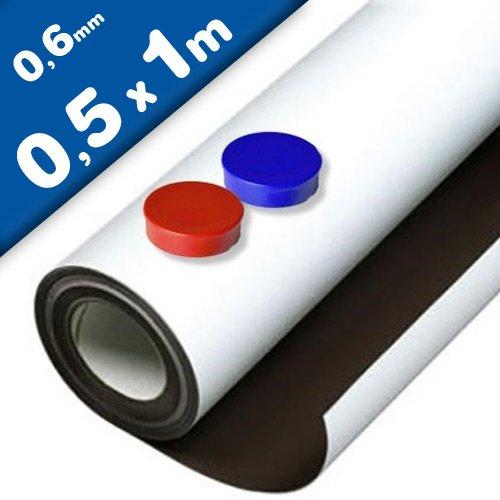 Eisenfolie Ferrofolie selbstklebend weiß matt - 0,6mm x 50cm x 100cm - mit Premium-Kleber, flexibler Haftgrund für Magnete
