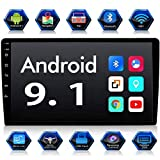 Android 9.1 Double Din 10.1' Car Stereo Receiver, 2.5D HD Capacitive Touch Screen Car Radio, Support GPS Navigation Rear View Camera&Android iOS Mirror Link Dual USB Input+ Offline Map+Microphone