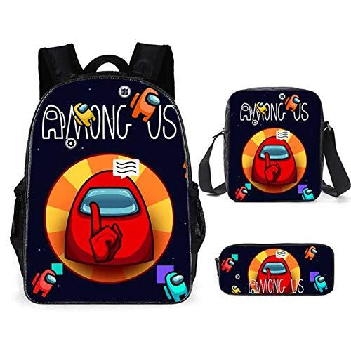 QKQB among us mochila escolar con estuche para lápices Mochilas escolares, Mochila impresa de dibujos animados de la escuela para regalo de niños y niñas, juego de 3 piezas (H)